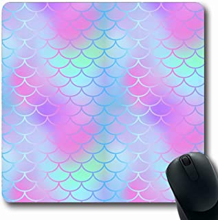 Ahawoso Mousepad Oblong 7.9x9.8 Pink Mint Digital Pattern Tile Magic Skin Mermaid Tail Fish Scale Abstract Blue Border Wedding Animal Non-Slip Rubber Mouse Pad Office Computer Laptop Game Mat