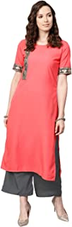 Ziyaa Women's Peach Color Solid Straight Crepe Kurta With Palazzo / Salwar Suit Set