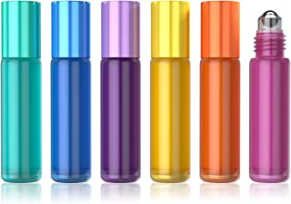 AMMAX 6 Pack 10 ml Glass Roll-on Bottles with Stainless Steel Roller Balls, Essential Oil Roller Bottles for Perfume Aromatherapy Oils (5 ml Dropper included)