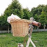 YABIN Cesta delantera para bicicleta de ratán holandés, montaje fijo, cesta para bicicleta infantil, asiento de bicicleta para niñas, cesta para perros extraíble, cesta para bicicleta grande