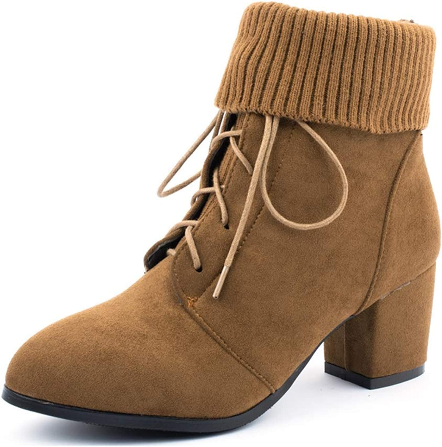 Fashion shoesbox Women's Lace Up Dress Ankle Boots Pointed Toe Suede Casual Bootie Chunky Block Heel Knit Short Boots