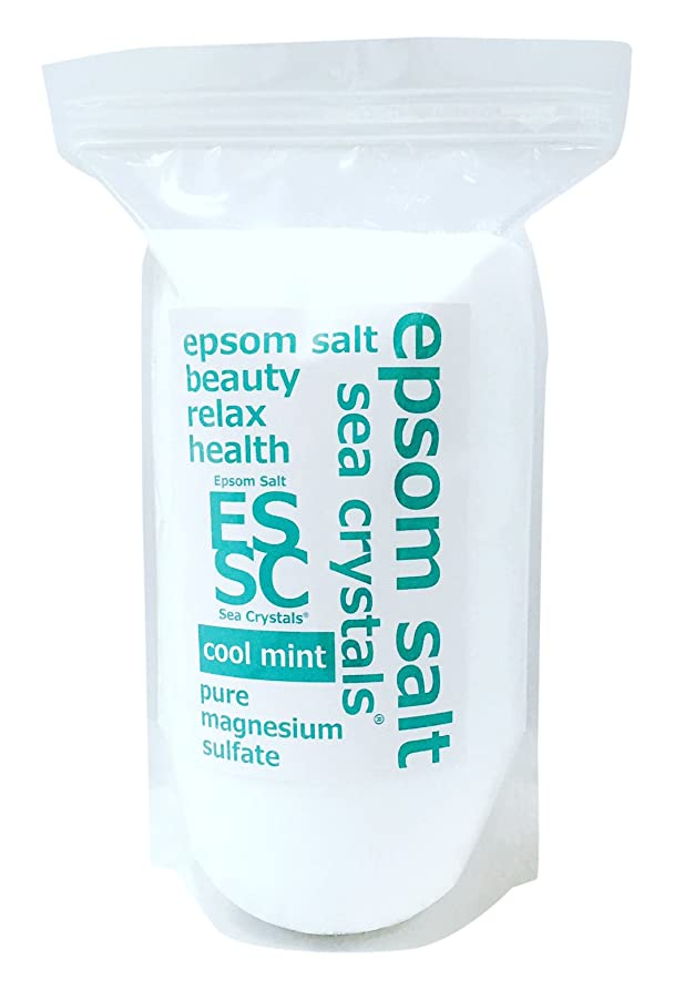 均等に削る促進するシークリスタルス 国産 エプソムソルト(硫酸マグネシウム) クールミント2.2kg 浴用化粧品 計量スプーン付
