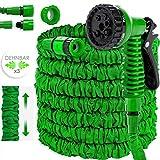 KESSER Gartenschlauch 30m Flexibler Basic Wasserschlauch Flexible dehnbarer Flexischlauch Multisfunktionsbrause mit 8 Funktionen, Adapter inkulsive passend für jeden Wasserhahn mit Gewinde, Grün