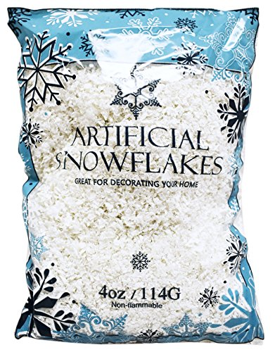 Black Duck Brand Snow Artificial Flakes 4 Oz Bag! Festive Fake Snow for Crafts, Christmas, and Decor!