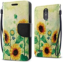 FINCIBO Case Compatible with LG Stylo 3 Stylus 3 LS777 / Stylo 3 Plus, Fashionable Flap Wallet Pouch Cover Case + Card Holder Kickstand For LG Stylo 3 Stylus 3 - Sunflowers Flowers