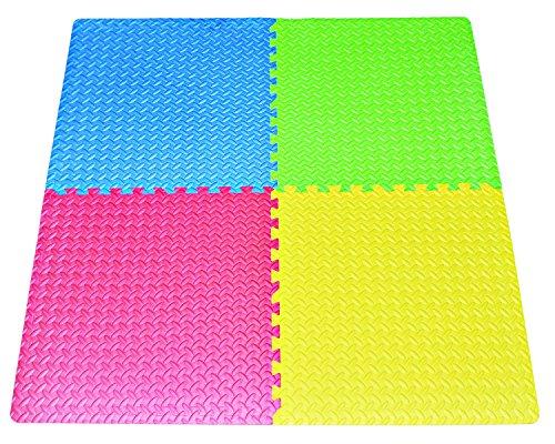 POCO DIVO 16Squareft MultiColor Exercise Mat AntiFatigue Interlocking Puzzle EVA Foam Floor Cover 4Tile with 8Border