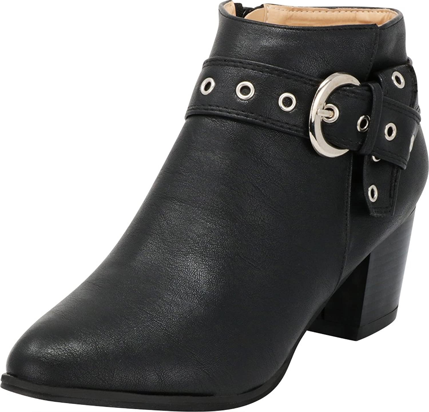 Cambridge Select Women's Closed Almond Toe Western Moto Wraparound Knot Strap Eyelet Chunky Stacked Block Heel Ankle Bootie
