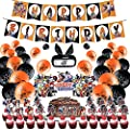 97 PCS Anime Birthday Party Supplies,Anime Birthday Decoration Include Happy Birthday Banner, Cake Topper, Balloons, Headband and Stickers For Fans, Boys, Girls, Adults from Norforky