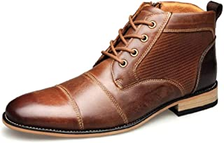 Enjoy4Beauty- Ankle Boots for Men High Top Dress Oxfords Lace up Genuine Leather Burnished Style Stitch Side Zipper Patchw...