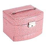 3 Capas Cajas para Joyas, joyero de viaje portátil con espejo Regalo de La Vendimia para Las Mujeres suministros para el Hogar(Pink)