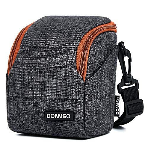 DOMISO camera case camera-etui schoudertas voor systeemcamera Canon EOS M6 M5 M3 M10 PowerShot SX540 HS SX430 is/Sony A6500 A6300 A6000 A5100 / Nikon 1 J5 COOLPIX B700 B500 / Olympus E-PL 8, donkergrijs