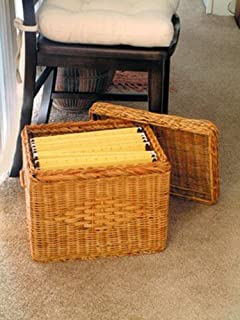 Wicker Letter Size File Box with LID by JUMBL