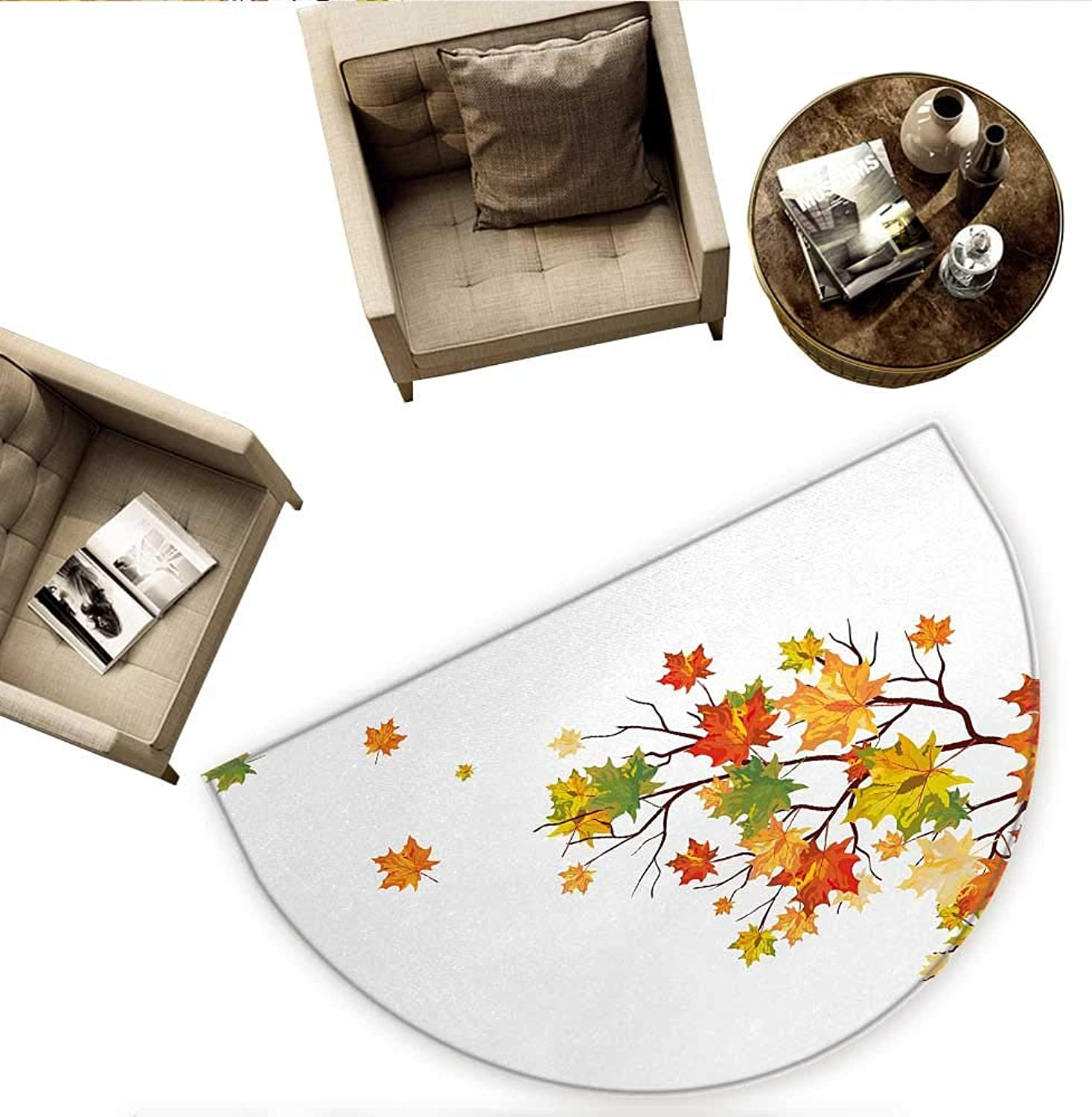 Fall Semicircle Doormat Fall Image with Canadian Maple Leaves Botanical Foliage Nature Warm to Cold Effects Halfmoon doormats H 59  xD 88.6  Yellow orange