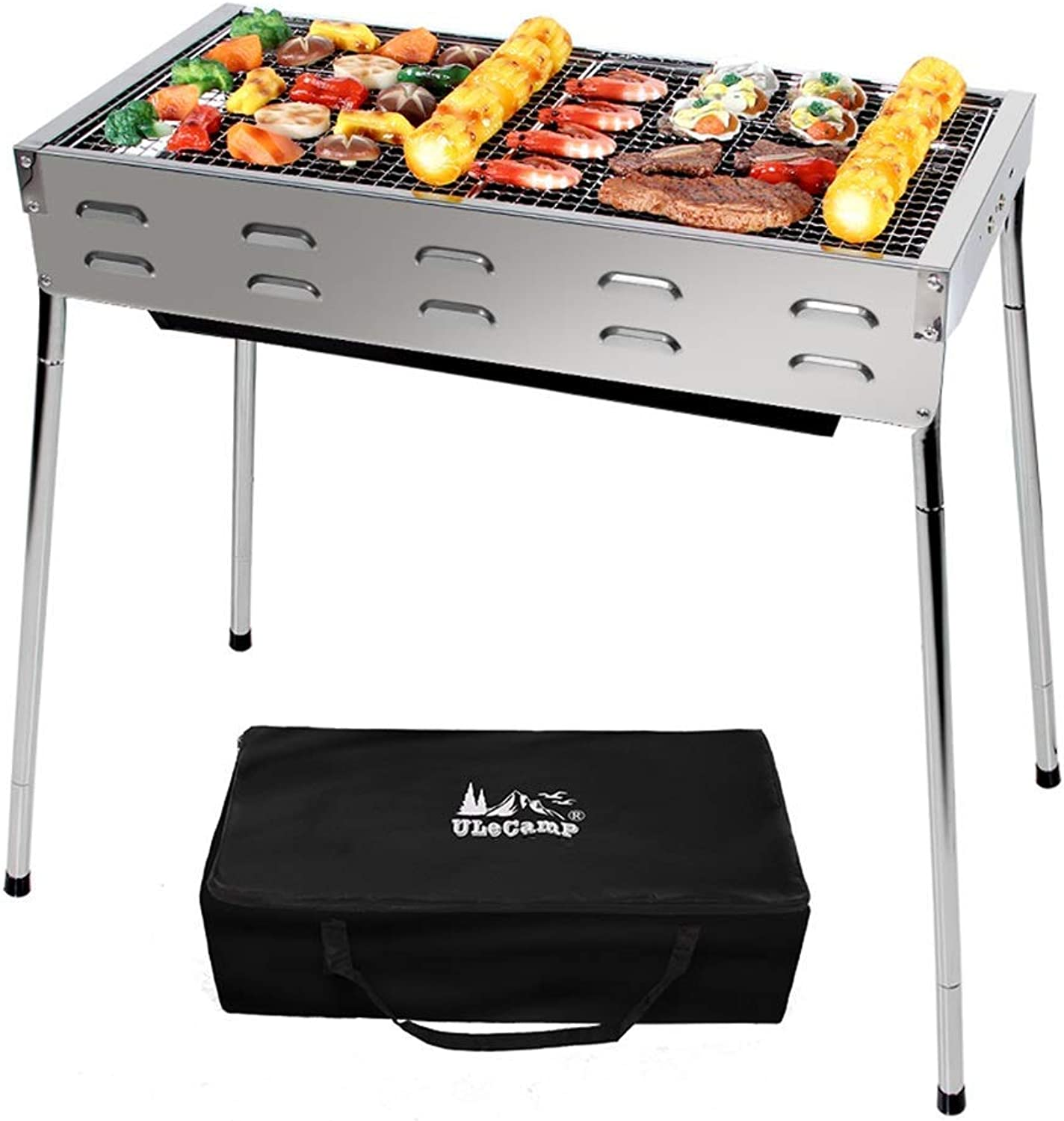 BBQ Supplies Barbecue Adjustable Charcoal Barbecue Grill, Portable Stainless Steel for Travel Camping Outdoors BBQ