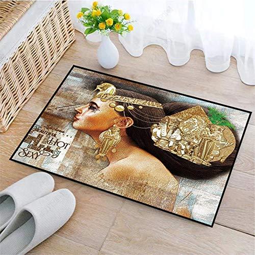 Rutschfeste Badematte 45x75cm,Ägypterin, Frau Königin Kleopatra Profil Historische Kunstszene mit Antiker Pyramidensphinx Dekorativ, Goldbrau,Badteppich auswaschbar Mikrofaser Teppich für Badezimmer