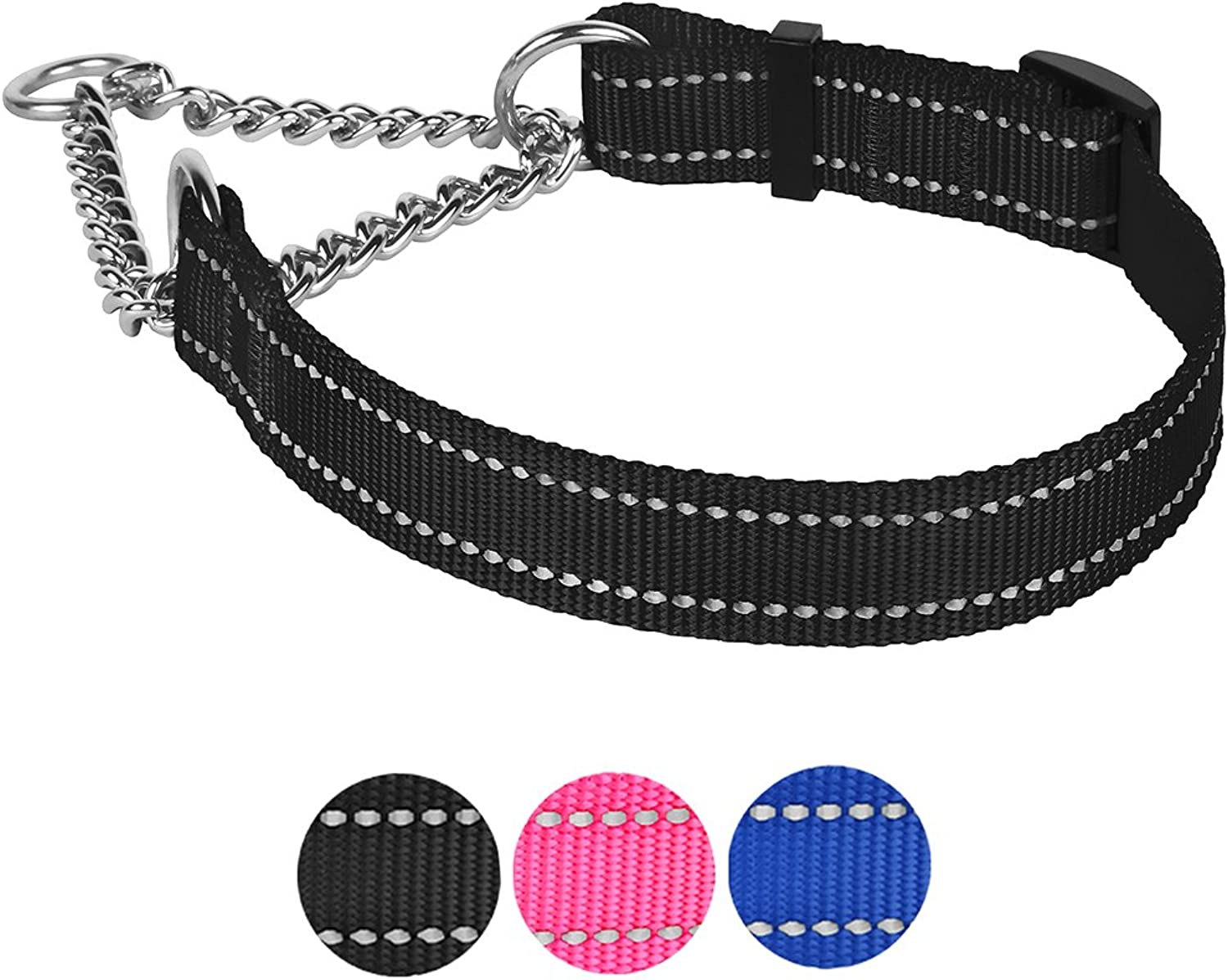 CollarDirect Martingale Dog Collar Training Adjustable Stainless Steel Chain Reflective Nylon Pet Choke Collars for Medium Large Dogs (M, Neck Fit 14 20 , Black)