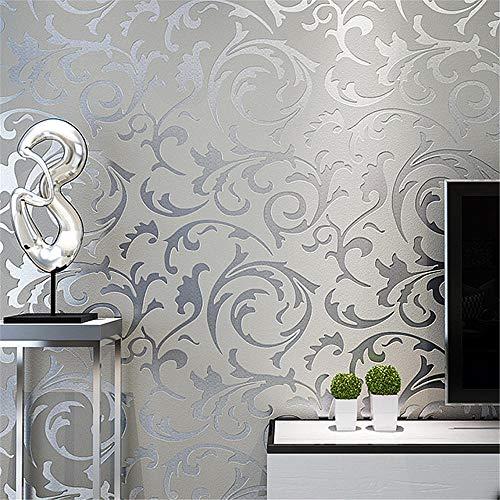 papel pintado pared Rollo de papel tapiz en relieve Damasco victoriano gris 3D, decoración del hogar, sala de estar, dormitorio, revestimientos de paredes, papel de pared de lujo Floral plateado
