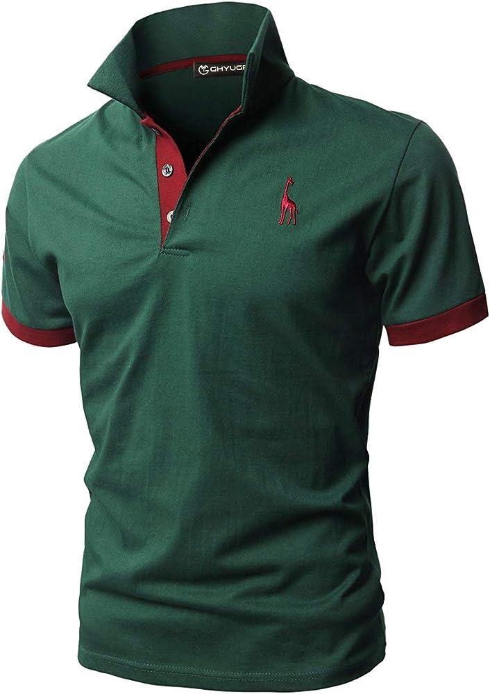 Ghyugr polo maglietta da uomo a maniche corte 100% cotone shenkaclothing0310-A