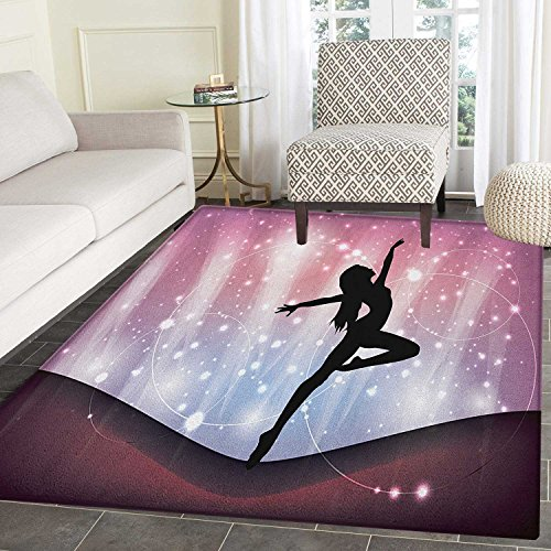 Contemporary Anti-Skid Area Rug Silhouette of Ballerina Performing on Abstract Backdrop Magic Dance Fine Arts Door Mat Increase 3'x4' Multicolor