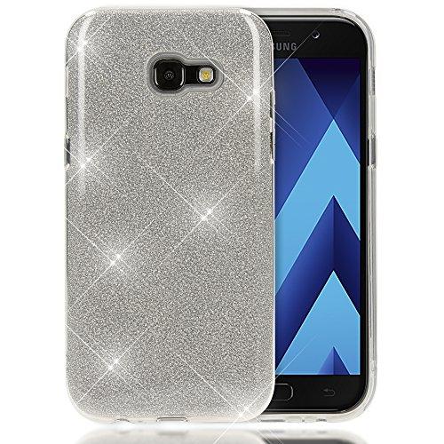 NALIA Custodia compatibile con Samsung Galaxy A5 2017, Glitter Copertura in Silicone Protezione Sottile per Cellulare, Slim Cover Case Protettiva Scintillio Telefono Bumper, Colore:Argento