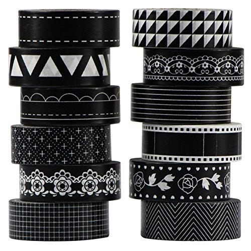 UOOOM 12 Rolls Beautiful Washi Tape Masking Tape deko klebeband Schwarz Weiß Klebebänder DIY scrapbook deko