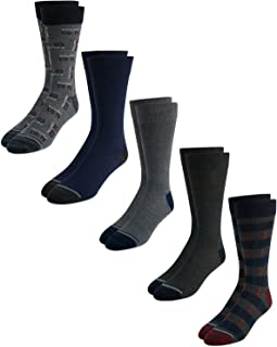 Men's Moisture Wicking Dress Socks with Stay Up Cuff (5 Pack), Size Shoe Size: 6-13, Navy/Grey
