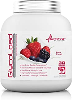 Metabolic Nutrition, Glycoload, 100% Micronized Cyclic Cluster Dextrin Carbohydrate Powder, Muscle Glycogen Loading Carbohydrate, Pre Intra Post Workout Supplement, Fruit Punch, 600 gm (30 ser)
