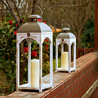 Glitzhome Mondern Farmhouse Wood Metal Lanterns Decorative Candle Lanterns Set of 2, White (No Glass)