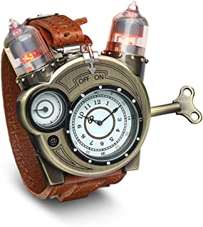ThinkGeek Steampunk-Styled Tesla Analog Watch Weathered-Brass Look on Metal Findings Plus Leather