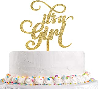 Gold Glitter It's a Girl Cake Topper for Baby Shower, Baby Gilr 1st 2nd 3rd Birthday Cake Topper,Gender Reveal Party Decoration Supplies(Acrylic)