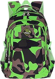 Ninos Ninas Mochila Escolar Camouflage Impermeable para Estudiante (Camo-Verde)