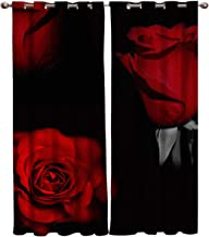 FunDecorArt Blackout Curtains, Red Rose Black Background Polyester Shade Curtains, 2 Panel Drapes/Window Treatment for Bedroom/Living Room/Office/Teen Room, 80 W x 84 L inches