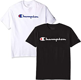afdc9d5c8d21 Champion Men's Classic Jersey Script T Shirt -3 Piece Bundle Includes 2  Shirts Free BE