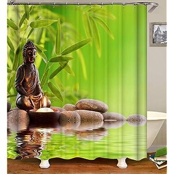 YLTZ Cortina De Ducha Cortinas De Baño Zen Cortinas De Baño Decoración para El Hogar Verde Amarillo Zen Jardín De Bambú Tema Impermeable Mostrar Cortina: Amazon.es: Hogar