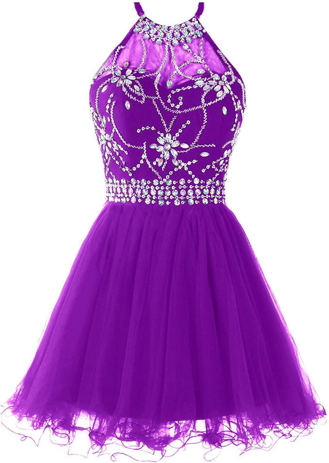Musever Women's Halter Short Homecoming Dress Beading Tulle Prom Dress Purple US 6