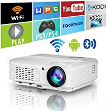Newest Smart Movie Projector LED HD 1080P Support 16:9 Digital WiFi Bluetooth Projectors with Zoom Horizontal Keystone Indoor Outdoor Wireless HDMI USB VGA AV RCA Jack for Smartphone Laptops TV DVD