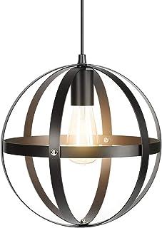 Tomons Lámpara de Techo Metálica Industrial Lámpara Esférica Antigua para Cocina, Casa de Campo, Comedor, Sala de Estar, con Bombilla y cable de Longitud Ajustable