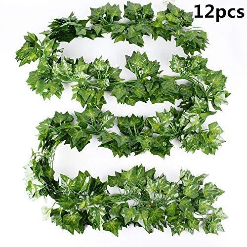 Byou Efeu Künstlich,Künstlich Hängende Rebe 12 stück Kunstpflanzen Hängend für Hochzeit Party Garten Wanddekoration