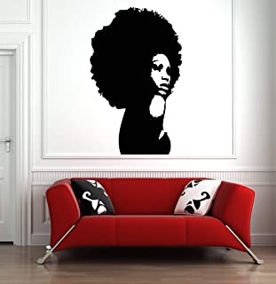 Custom Wall Window Afro Girl Woman Beautiful Decal Stickers Beauty Hair Salon Name Hours Phone number g006