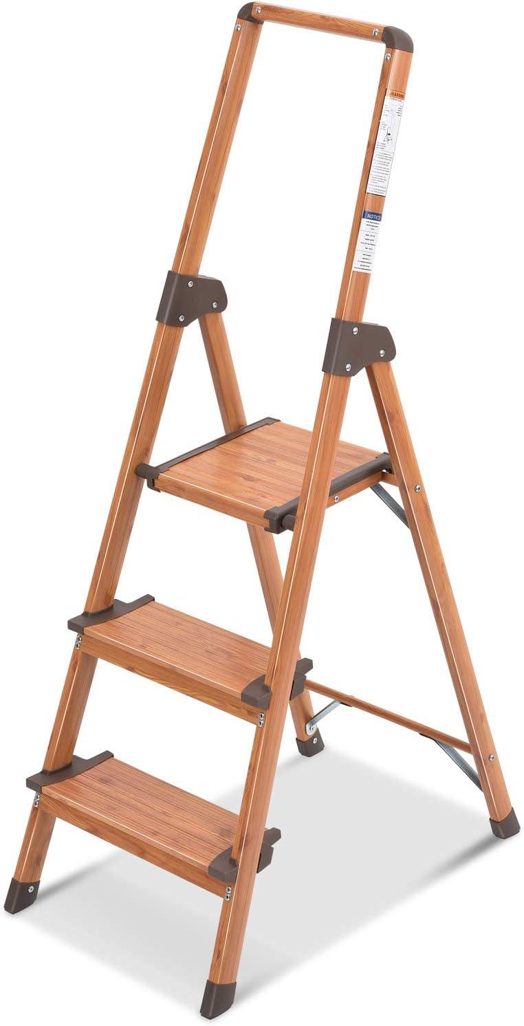 KINGRACK 3 Step Ladder Aluminum Woodgrain Lightweight Ladder Ultra Slim Folding Step Stool Stepladder Wide Pedal and Anti-Slip Rubber Feet Portable Ladder for Home and Kitchen
