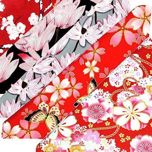 ASNOMY 5 piezas Japonés Tela de algodón para manualidades, Telas Patchwork de Algodón para Tejido Costura Pelusas DIY Artcraft Trabajo Álbumes de Recortes, 50 cm x 50 cm (color 3)