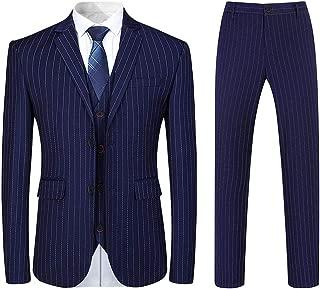 Mens 3 Piece Suit Formal Pinstripe Slim Fit Notched Lapel Dress Blazer Vest Trousers Set