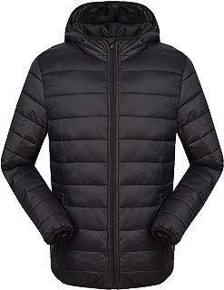 Men's Lightweight Down Jacket Hooded Packable Coat ESP04 Black XL
