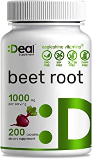 Deal Supplement Beet Root 1000mg,200 Count,Maximum Lower Blood Pressure, Improve Performance,Natural & Pure,Non-GMO, No Gluten No Soy & No Diary