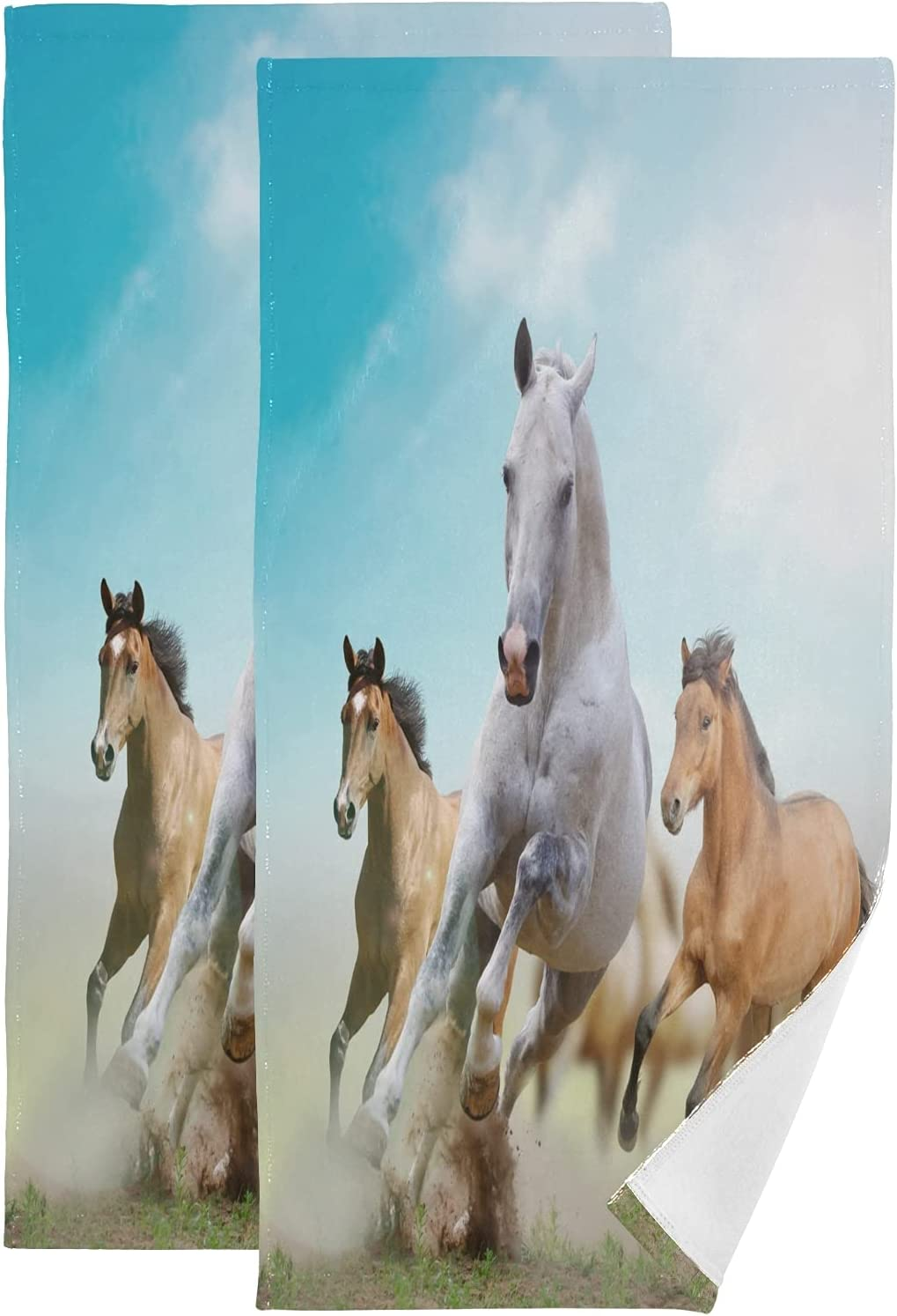 ALAZA Horses Hand Mail order Towels Soft Decorative Credence Absorbent Bath F