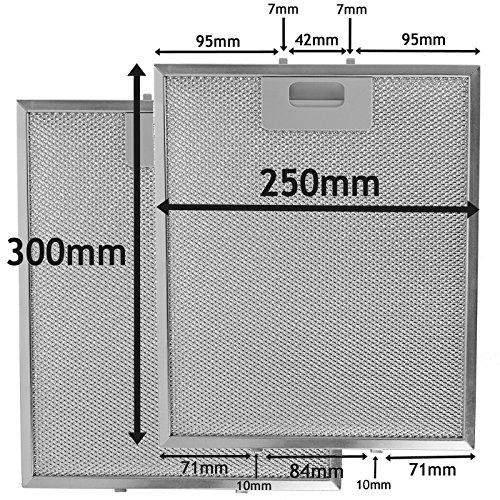SPARES2GO Metalen gaasfilter voor Bauknecht afzuigkap/keukenafzuigkap Ventilator Ventilator (Pak van 2 Filters, Zilver, 300 x 250 mm)