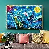MKWDBBNM Pintor Famoso clásico Starry Joker Lienzo Abstracto Pintura Payaso Cartel e Impresiones Pintura Cuadros de Arte de Pared para Sala de Estar hogar | 60x90cm sin Marco