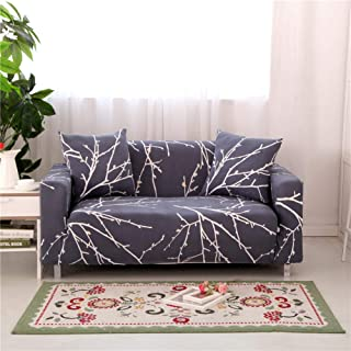 Stretch Sofa Slipcover Fitted Furniture Protector Print Sofa Cover Stylish Couch Cover with 2 Pillow Cases for Loveseats/Sofas/Sectional Couches,White Branch-Gray