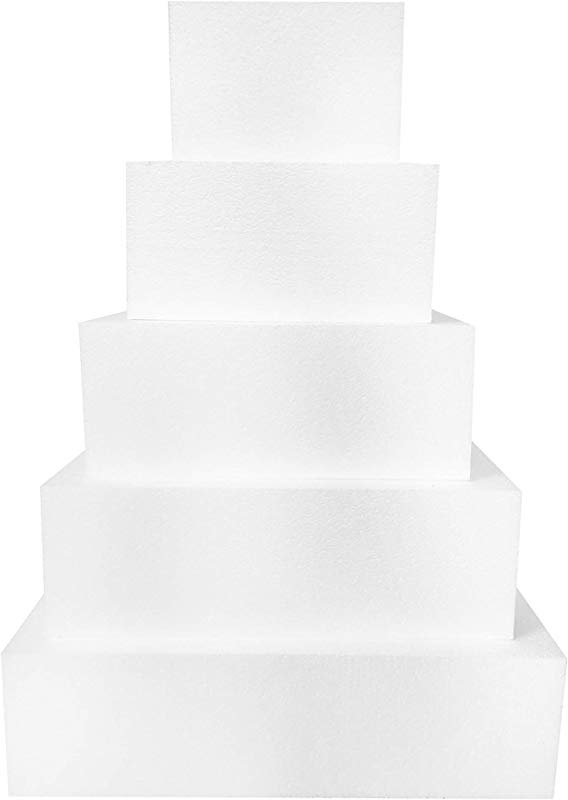 Square 4 Cake Dummies Set Of 5 Each 4 High By 6 8 10 12 14 Square
