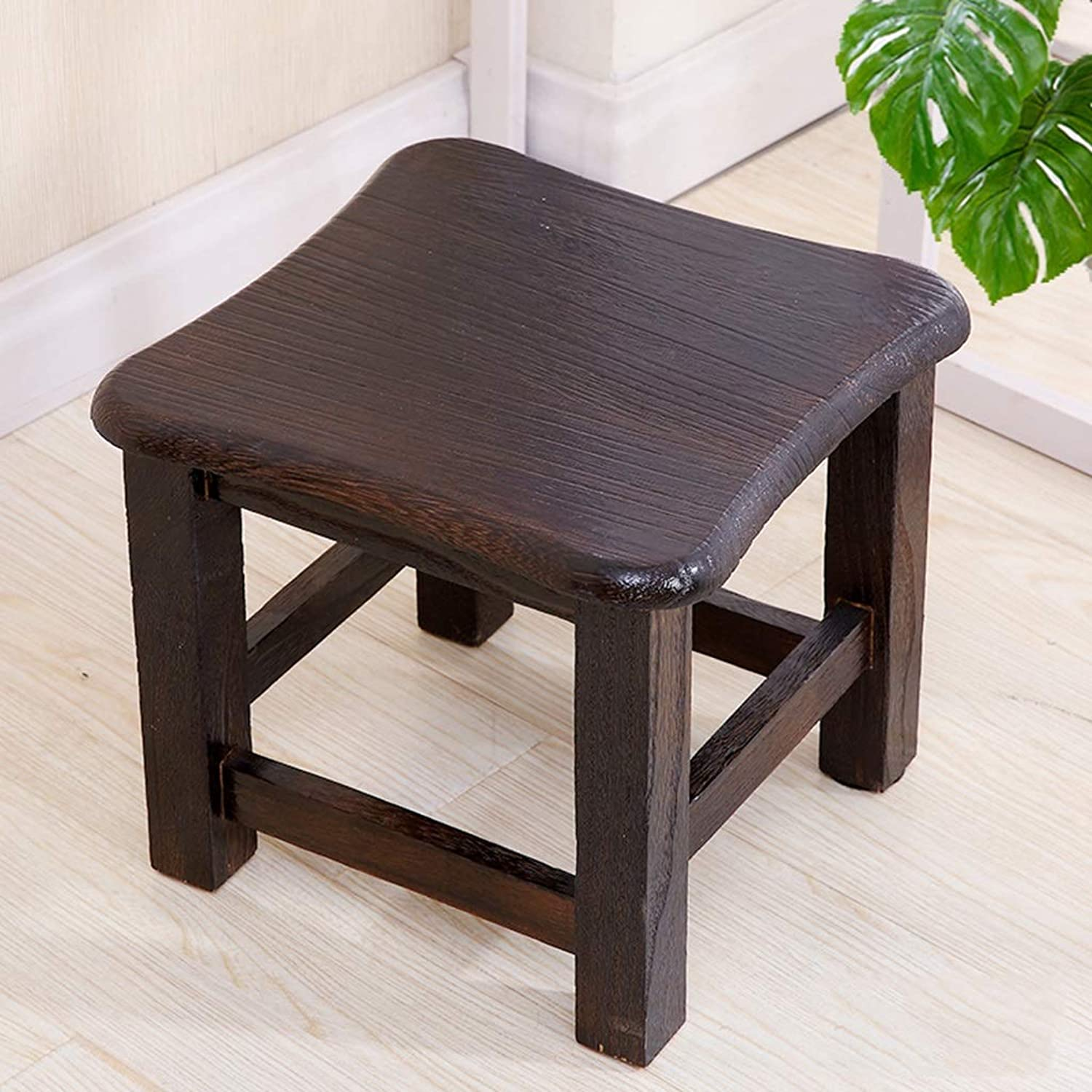 Small Square Stool Footstool Solid Wood Change shoes Bench Lightweight Chair Bathroom,Living Room Coffee Table,Bedroom,Garden Fishing Camping (color   Black)